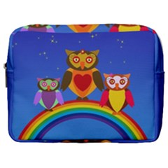 Owls Rainbow Animals Birds Nature Make Up Pouch (large)