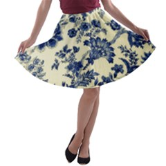 Vintage Blue Drawings On Fabric A Line Skater Skirt by Jojostore