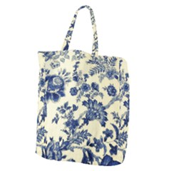 Vintage Blue Drawings On Fabric Giant Grocery Tote