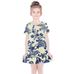 Vintage Blue Drawings On Fabric Kids  Simple Cotton Dress