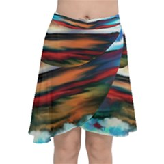Ocean Waves Birds Colorful Sea Chiffon Wrap Front Skirt