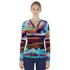Ocean Waves Birds Colorful Sea V Neck Long Sleeve Top