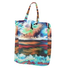 Ocean Waves Birds Colorful Sea Giant Grocery Tote