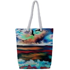 Ocean Waves Birds Colorful Sea Full Print Rope Handle Tote (small)