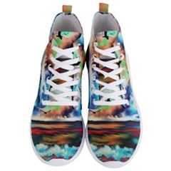 Ocean Waves Birds Colorful Sea Men s Lightweight High Top Sneakers