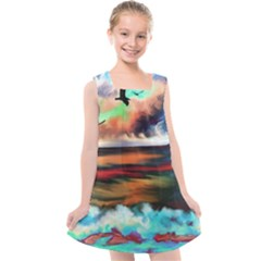 Ocean Waves Birds Colorful Sea Kids  Cross Back Dress by Jojostore