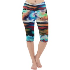 Ocean Waves Birds Colorful Sea Lightweight Velour Cropped Yoga Leggings