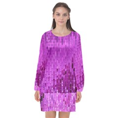 Purple Background Scrapbooking Paper Long Sleeve Chiffon Shift Dress