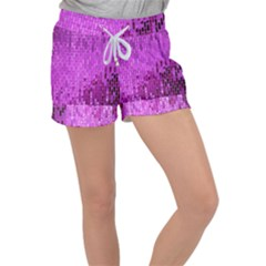 Purple Background Scrapbooking Paper Women s Velour Lounge Shorts