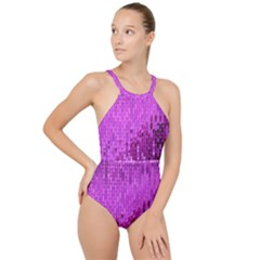 Purple Background Scrapbooking Paper High Neck One Piece Swimsuit