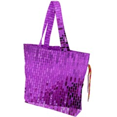 Purple Background Scrapbooking Paper Drawstring Tote Bag by Jojostore
