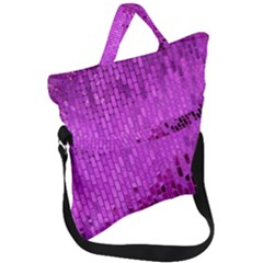 Purple Background Scrapbooking Paper Fold Over Handle Tote Bag