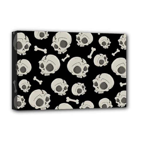 Halloween Skull Pattern Deluxe Canvas 18  X 12  (stretched) by Valentinaart