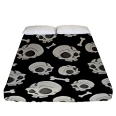 Halloween Skull Pattern Fitted Sheet (queen Size) by Valentinaart