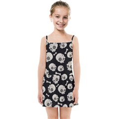 Halloween Skull Pattern Kids Summer Sun Dress by Valentinaart