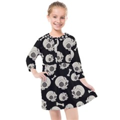 Halloween Skull Pattern Kids  Quarter Sleeve Shirt Dress by Valentinaart