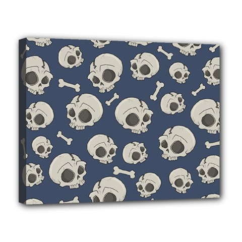 Halloween Skull Pattern Canvas 14  X 11  (stretched) by Valentinaart