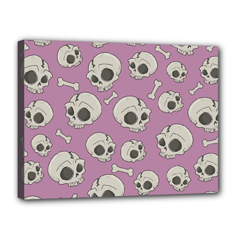 Halloween Skull Pattern Canvas 16  X 12  (stretched)