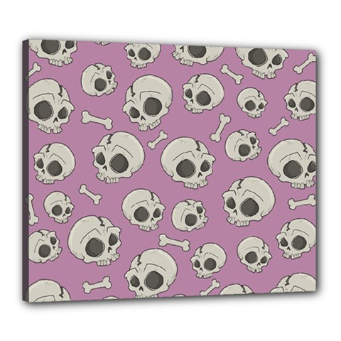 Halloween Skull Pattern Canvas 24  X 20  (stretched)