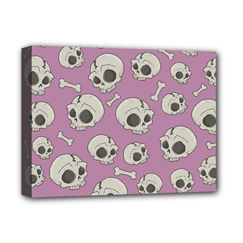 Halloween Skull Pattern Deluxe Canvas 16  X 12  (stretched)