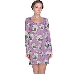 Halloween Skull Pattern Long Sleeve Nightdress