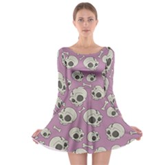 Halloween Skull Pattern Long Sleeve Skater Dress