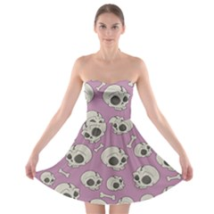 Halloween Skull Pattern Strapless Bra Top Dress