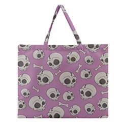 Halloween Skull Pattern Zipper Large Tote Bag