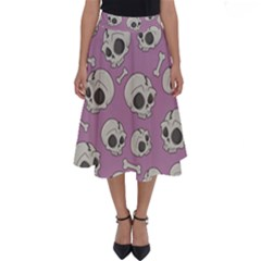 Halloween Skull Pattern Perfect Length Midi Skirt