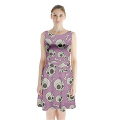 Halloween Skull Pattern Sleeveless Waist Tie Chiffon Dress