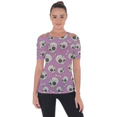 Halloween Skull Pattern Shoulder Cut Out Short Sleeve Top