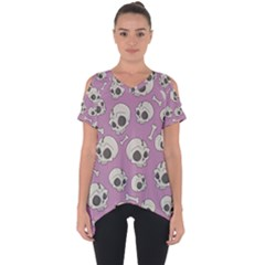 Halloween Skull Pattern Cut Out Side Drop Tee