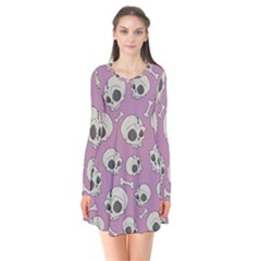 Halloween Skull Pattern Long Sleeve V Neck Flare Dress
