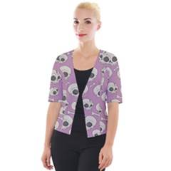 Halloween Skull Pattern Cropped Button Cardigan