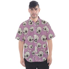 Halloween Skull Pattern Men s Short Sleeve Shirt