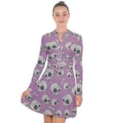 Halloween Skull Pattern Long Sleeve Panel Dress