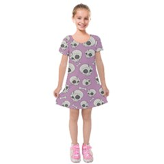 Halloween Skull Pattern Kids  Short Sleeve Velvet Dress