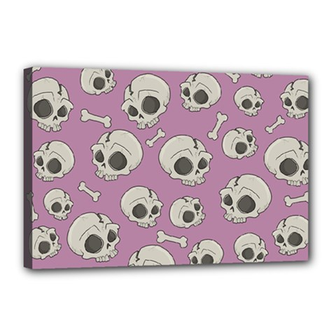 Halloween Skull Pattern Canvas 18  X 12  (stretched)