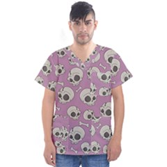 Halloween Skull Pattern Men s V Neck Scrub Top