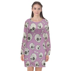 Halloween Skull Pattern Long Sleeve Chiffon Shift Dress