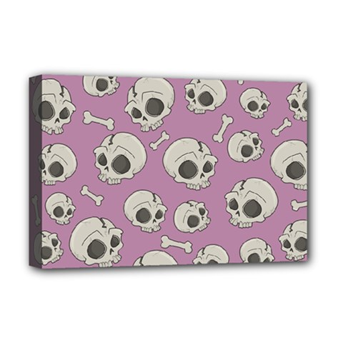 Halloween Skull Pattern Deluxe Canvas 18  X 12  (stretched)