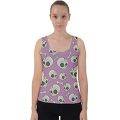 Halloween Skull Pattern Velvet Tank Top