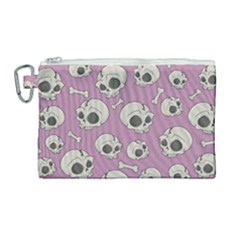 Halloween Skull Pattern Canvas Cosmetic Bag (large)