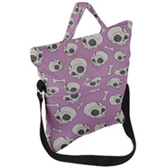 Halloween Skull Pattern Fold Over Handle Tote Bag