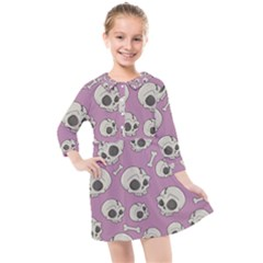 Halloween Skull Pattern Kids  Quarter Sleeve Shirt Dress