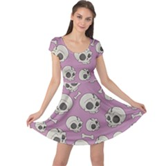 Halloween Skull Pattern Cap Sleeve Dress