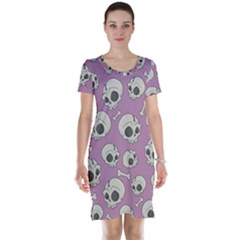 Halloween Skull Pattern Short Sleeve Nightdress