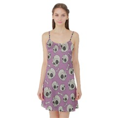 Halloween Skull Pattern Satin Night Slip