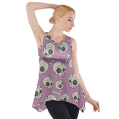 Halloween Skull Pattern Side Drop Tank Tunic