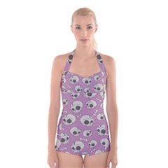 Halloween Skull Pattern Boyleg Halter Swimsuit